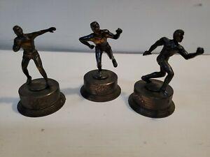 A lot of 3 Vtg 1960's Die Cast Metal Figural Pencil Sharpener Olympic Athletes