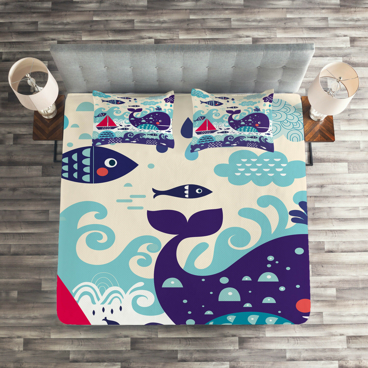 Kids Quilted Coverlet & Pillow Shams Set, Cartoon Whale an Fishes Print