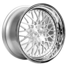 """20"""" Staggered Rennen Wheels CSL 5 Silver W/ Chrome Step Lip Rims and Tires"""