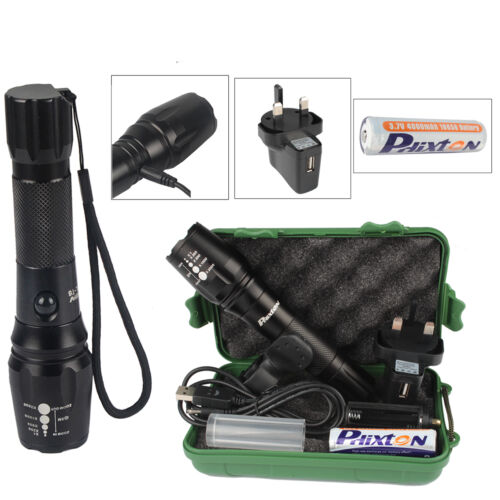 10000lm USB Rechargeable Tactical Flashlight CREE T6 LED Torch Bike Light Mount