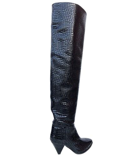 CQ COUTURE CUSTOM NEW OVERKNEE BOOTS STIEFEL STIVALI KROCO LEATHER BLACK NERO 39