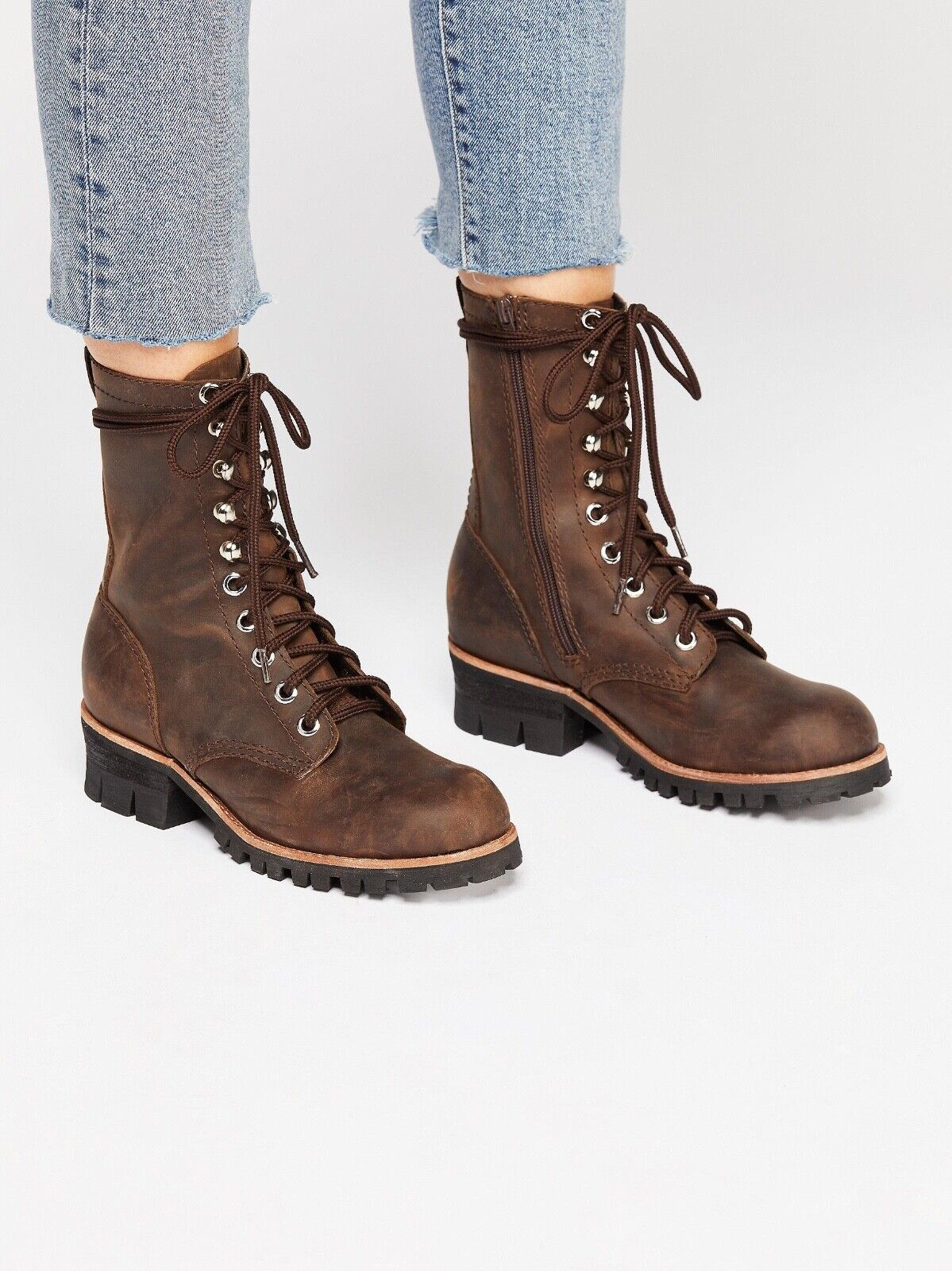 Free People Jeffrey Campbell Lucca Lace Up Brown Leather Work Boot Size 9 New