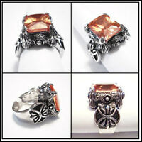 Celtic Guardian Ring In Vintage Handcraft Paint With Orange Stone Size 8-12