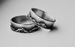 Image Is Loading Sterling Silver Wedding Band Set Mountain Ring