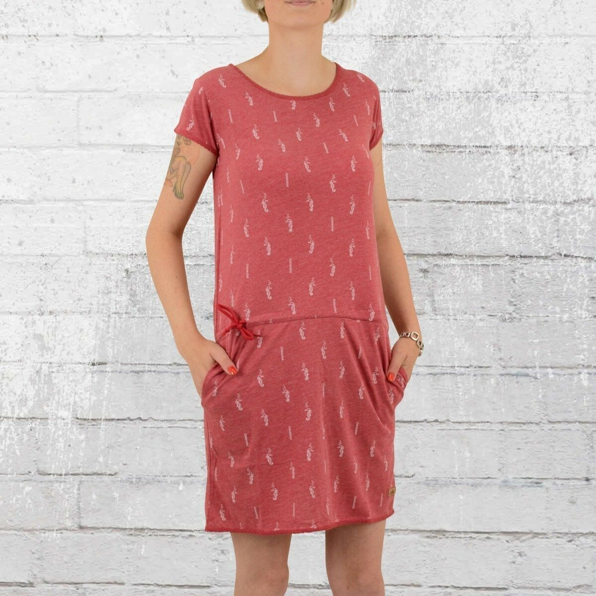Derbe Hamburg Mini Kleid Seepferdchen rot melange Minikleid Dress Seahorse rot