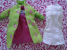 Barbie Doll Clothes Far Out Green Flower Jacket & White Dress Reproduction Lot 2