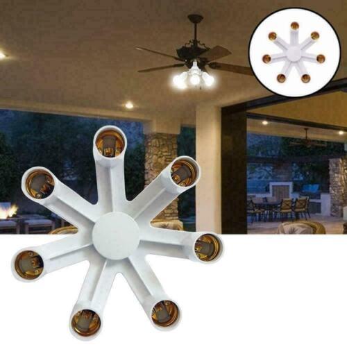 7 in 1 Light Bulb Splitter E27 Base Adapter Converter Splitter Socket LED H S2D8