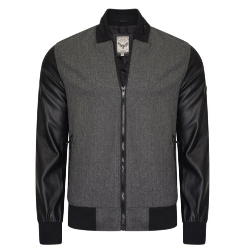 Mens Bomber Jacket Brave Soul Wool Mix Pvc Sleeves Lined Heritage Style Coat