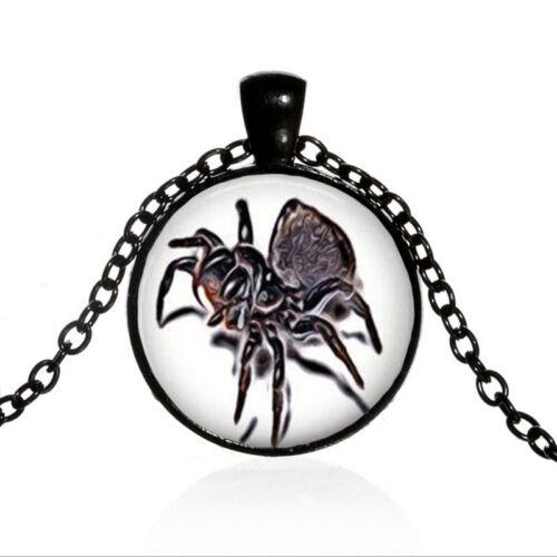 Tarantula Spider Noir Dôme Photo en Verre Art Chaîne Collier Pendentif #TUO538