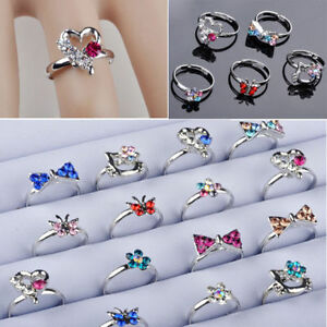 50pcs-Wholesale-Mix-lot-Cute-CZ-Crystal-Children-Kids-Silver-Adjustable-Rings