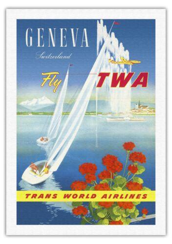 Geneva Switzerland Sailboats Vintage Airline Travel Art Poster Print Giclee