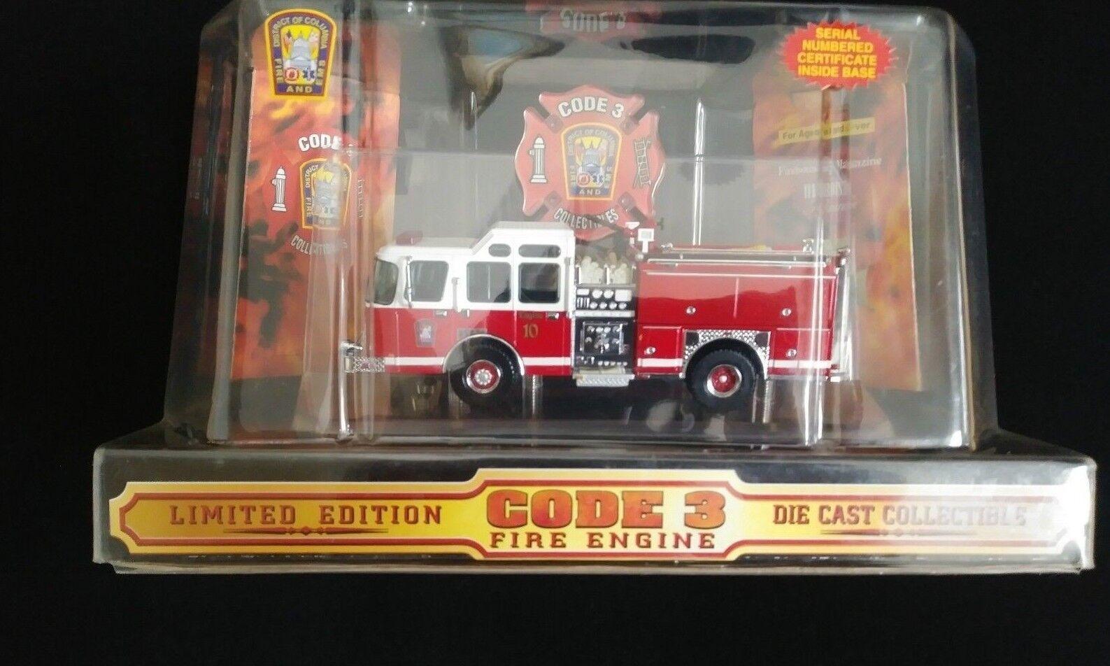 Code 3 DIECAST 1 64 e-one PUMPER ENGINE  10 Washington DC Camion de pompiers Neuf  le magasin