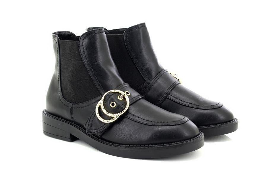 Damen Schnalle Truffle Collection Schwarz Doppelring Schnalle Damen Chelsea Stiefel 628bb7