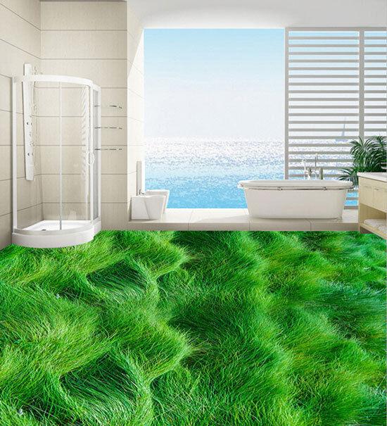 3D Rolling Sea Wave Grün Grass Floor Mural Photo Flooring Wallpaper Wall Decal