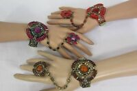 Women Gold Bracelet Beads Hand Chain Fashion Slave Ring Brown Red Purple