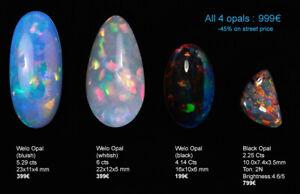 4 opales : 1 opale noire + 3 Welo (noire, blanchâtre et bleuté). Prix - 44%