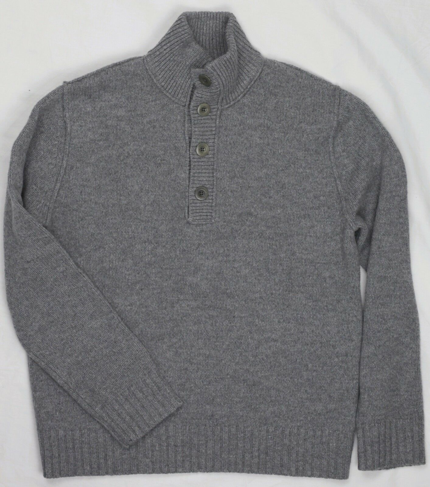 Banana Republic Wool Cashmere 1/4 Button Front grau Pullover Sweater L Large