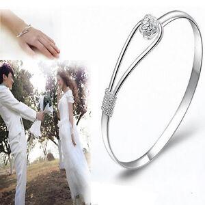 New-Fashion-Women-039-s-Silver-Plated-Flower-Cuff-Bangle-Bracelet-Jewelry-Gift