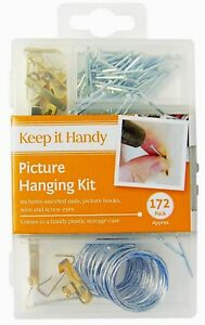 172 Picture Hanging Kit Mirror Photo Frame Hooks Brass Nail Wire Set Wall Art