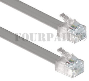100-Pack-Lot-7ft-Telephone-Line-Cord-Cable-6P4C-RJ11-DSL-Modem-Fax-Phone-Silver