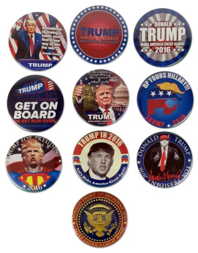 Donald Trump For President 2016 Republican Campaign Buttons Lot Of 10 Free Ship