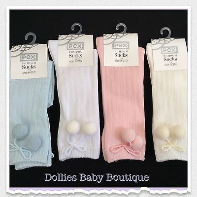 Knee High Pom Pom Socks by Pex Ivory//White//Pink//Blue Size Baby 0-2.5 or 3-5.5