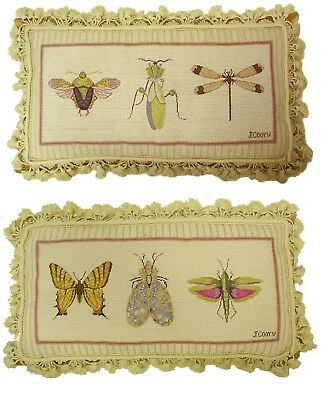 Needlepoint Lumbar Pillow Handmade Wool Stink Bug Grasshopper Dragonfly Cushion