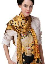 WOMENS LADY FASHION SCARF 100% SILK SHAWL LOVELY GIFT WRAP ART PAINT PRINT KLIMT