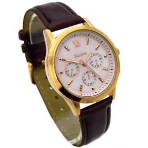 Henley Ladies Watch Brown Metallic Leather look Strap Mother of Pearl Face #447