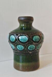 STREHLA Keramik Vase 70er 80er Jahre GDR DDR Keramik Fat Lava grün