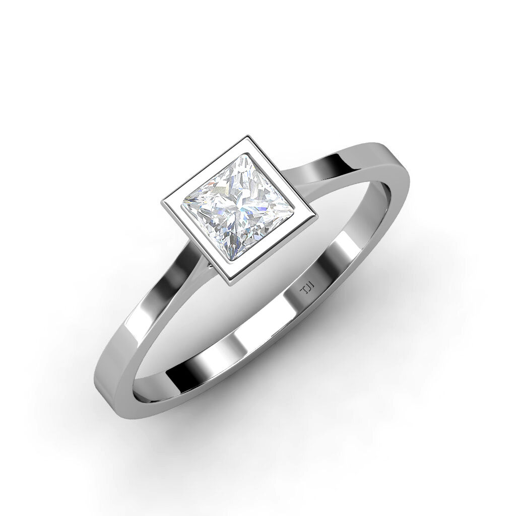 Created White Sapphire Princess Cut Solitaire Ring 1.05ct  in 14K gold JP 75560