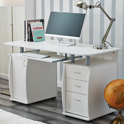 RayGar Deluxe White Computer Desk With Cabinet and 3 Drawers for Home Office PC