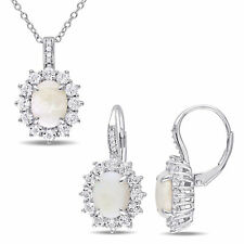 Amour Sterling Silver Opal White Topaz and Diamond Necklace and Earrings Set