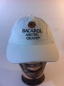 Bacardi-Arctic-Grape-Adjustable-Baseball-Hat-Cap-Strapback-OSFA-White