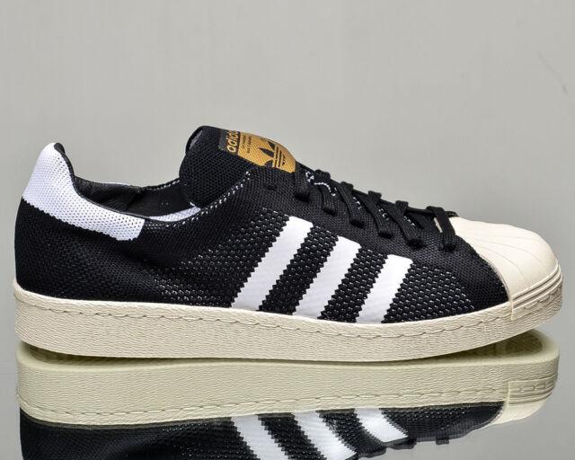 Adidas Originals Superstar 80s Primeknit BLACK WHITE GOLD S82780 MEN'S SHOES