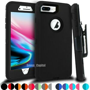 For iPhone 6 7 8 Plus Shockproof Rugged Case with Belt Clip + Screen Protector