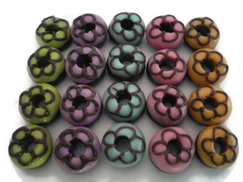 20 Loose Chocolate Donuts Dollhouse Miniatures Food  Bakery Deco