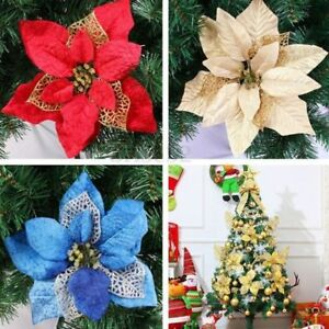 image is loading 5pcs christmas flowers tree decorations glitter hollow wedding