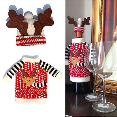 Wine Bottle Cover Xmas Santa Deer Table Decor Christmas Bottle Cap Party Gift