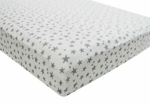 1x-Cot-Bed-100-Cotton-Jersey-Fitted-Sheet-140x70cm-Grey-Star