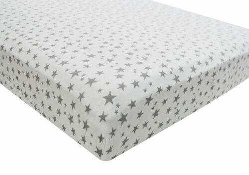 1x Kinderbett 100/% Baumwolle Jersey Enganliegend Blatt 140x70cm Grau Star