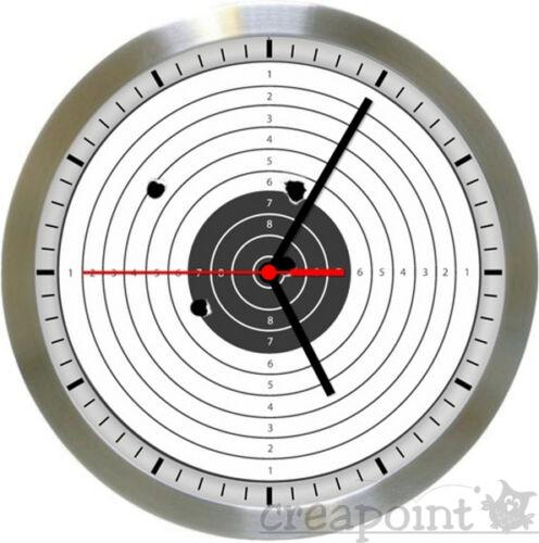 Target /< /> Zielscheibe #529 Wanduhr Funkuhr Alu gebürstet Echtglas TOP!