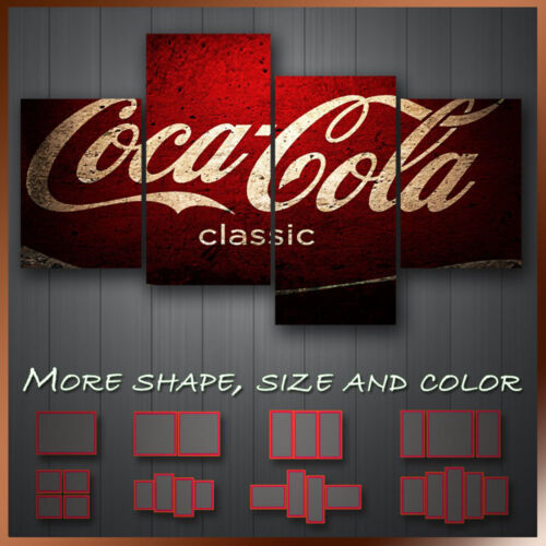 ' Coca Cola ' Modern Abstract Contempory Grunge Wall Art Canvas ~ 4 Panels