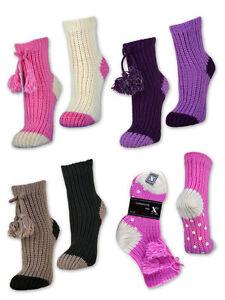 Damen-ABS-Socken-Anti-Rutsch-Kuschelsocken-Huttenschuhe-Huttensocken-Haussocken