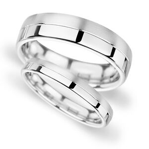 White Gold Band His and Hers set of Wedding Rings Half Polish Half