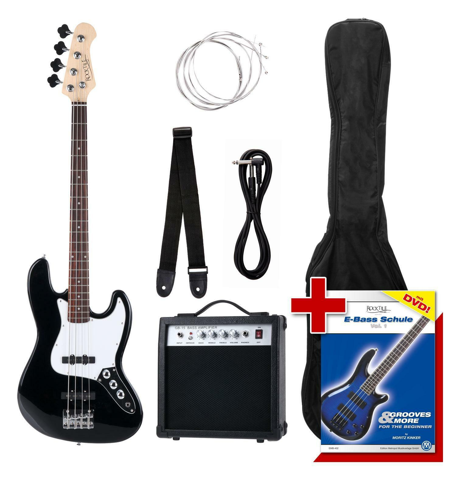 E-Bass E-Bass E-Bass set completamente Bass amp cinturón cable pajuela Bass guitarra 2 single-coils 7fd0d4