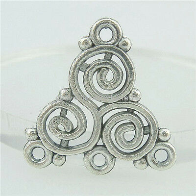 16533 35PCS Alloy Antique Silver Vintage Hollow Triangle Swirl Connector Charm