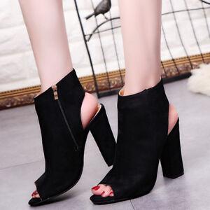 Mujer-botas-damas-tobillo-botines-Moda-tacones-altos-boca-de-pescado-botas