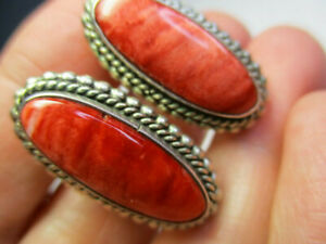 STERLING-SILVER-925-JB-SIGNED-RED-SPINY-OYSTER-CAVIER-ROPE-EDGE-CLIP-ON-EARRINGS