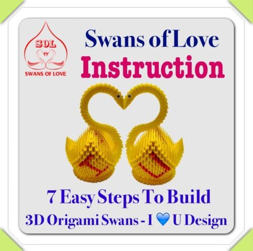 Couple Swans 3D Origami Swans Kit With I Love U Design